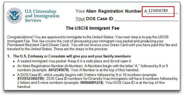 alien registration number in immigrant fee handout