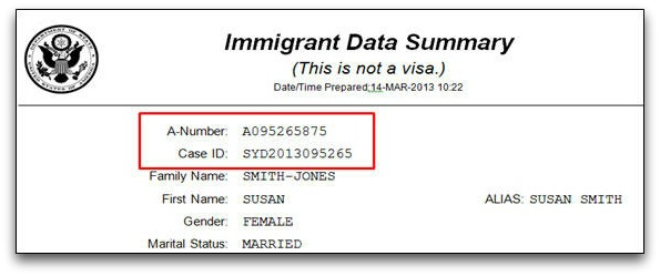 alien registration number on immigrant data summary